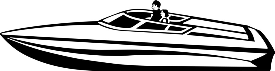 Power Boat Vinyl Ready Vector Illustration