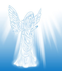 praying angel over the blue background