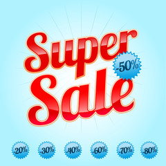 Super sale red lettering with label