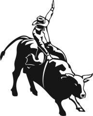 Bull Riding Vinyl Ready Vector Illustration