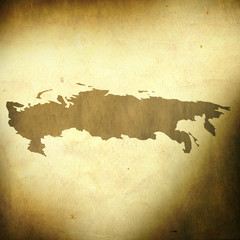 Russia map on grunge background