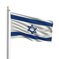 Flag of Israel waving in the wind in front of white background
