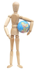 Wooden doll with planet on his hand
