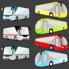 set of 7 bus vector illustration