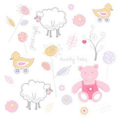 Seamless funky cartoon pattern.