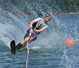 Young Slalom Skiier