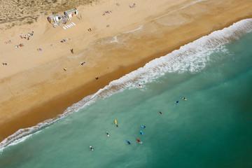 Surfeurs, vue aérienne, Vendée
