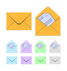 Colored envelopes. Web icons set