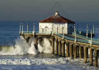 Wave Crashing into Manhattan Beach Pier Morning