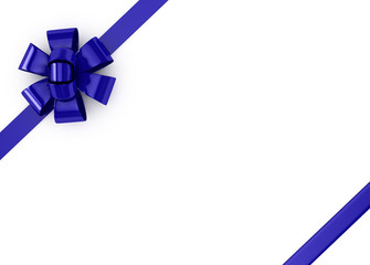 Blue ribbons over white background