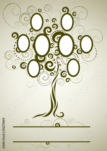 Vector Family Tree Design With Frames Stock Image And Royalty Free