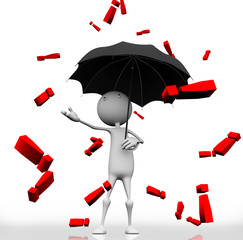 3d man standing with an umbrella dripping red exclamation mark.
