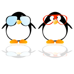 penguins with glasses vector illustration