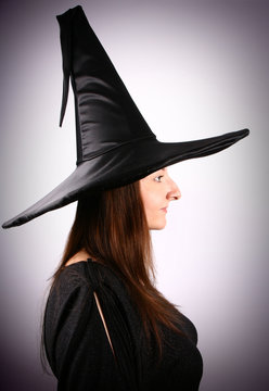 Profile of a young witch with gibbous nose