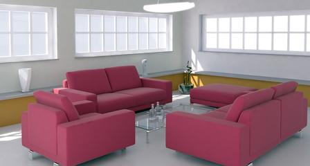 Interno con divano rosso