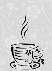 Cup on a floral pattern, vector
