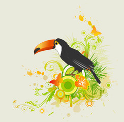 summer background with ornament and parrot