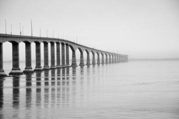 Confederation bridge in black and white