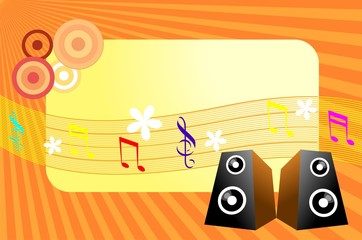 Illustration of speaker with a music note and design background