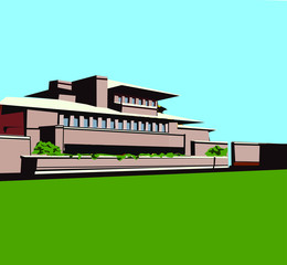 Frank Loyd Wright Prairie Style House Vector Illustration