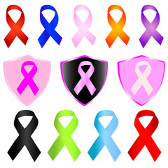 Set of breast cancer ribbons vector