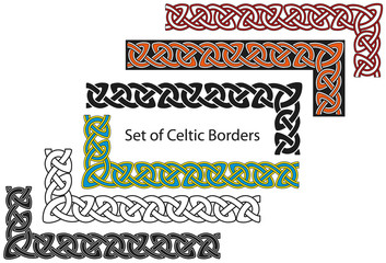 Vector set of Celtic style borders