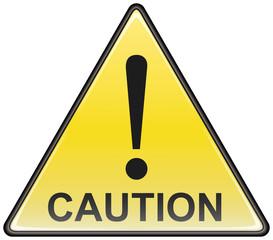 Triangular caution vector hazardous sign