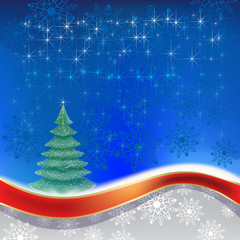 christmas tree with red ribbon on blue background