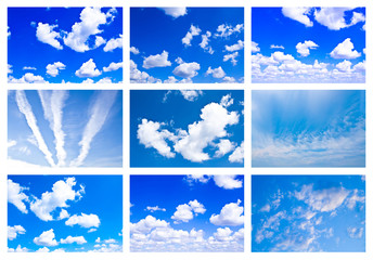 Collage made of many white fluffy clouds in the blue sky