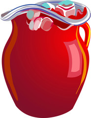 Glass Pitcher with Red Kool-Aid Vector Illustration