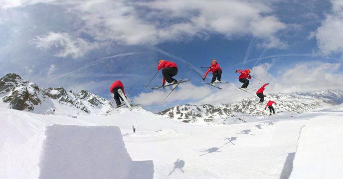 Skiing in snowpark
