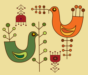 flowers and a birds - pattern