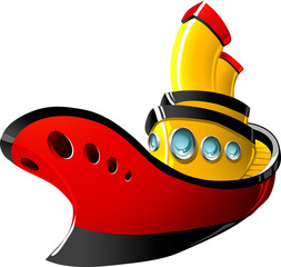 Cartoon tugboat