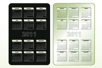 Two calendar designs for 2011 (sun-sat)