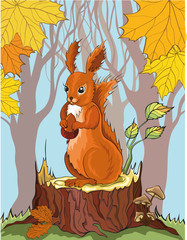 Poster Forest animals squirrel with acorn in autumn forest