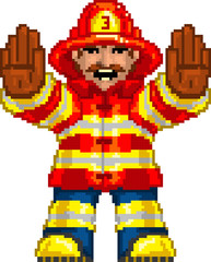 Door stickers Pixel PixelArt: Fireman
