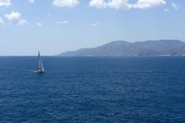 Sailing yatch in the wind