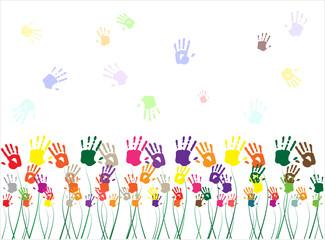 hand flower background, vector