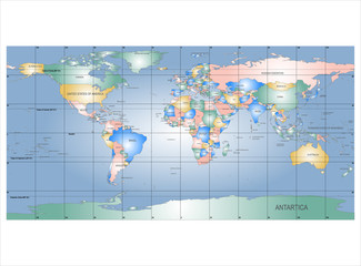 Foto op Plexiglas Wereldkaart Detailed World Map with Names of Countries, vector isolated by g