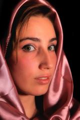 Beautiful arabic woman in a luxury satin
