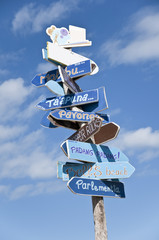 Many signs in one roadsign to the world surf spots