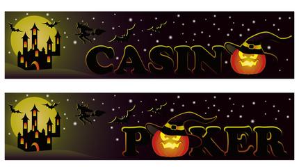 Set Casino halloween banners, vector