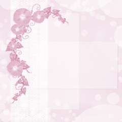 Floral wedding background with flowers and lace