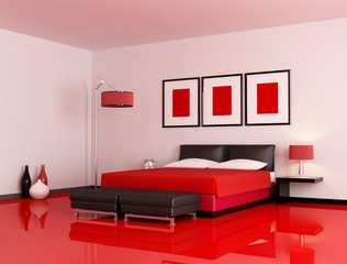 modern red and black bedroom