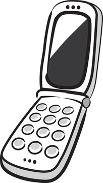 Flipphone with blank screen on white. Vector illustration.