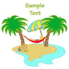 hammock between two palm trees