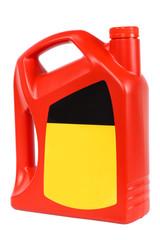 red plastic bottle of motor oil
