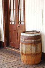 Barrel in front of a saloon