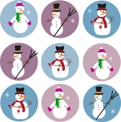 collection of snowmen on blue and purple background-1