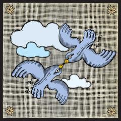 flying pigeons woodcut